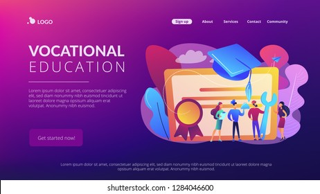 Vocational specialists graduating and diploma with graduation cap. Vocational education, professional learning, online vocational education concept. Website vibrant violet landing web page template.