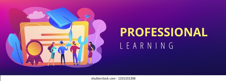 Vocational specialists graduating and diploma with graduation cap. Vocational education, professional learning, online vocational education concept. Header or footer banner template with copy space.