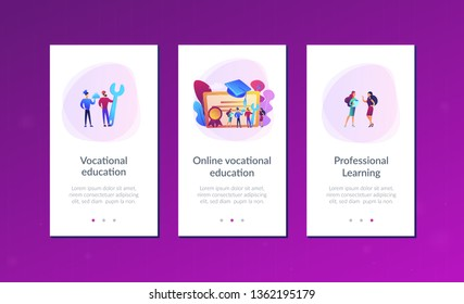 Vocational specialists graduating and diploma with graduation cap. Vocational education, professional learning, online vocational education concept. Mobile UI UX GUI template, app interface wireframe