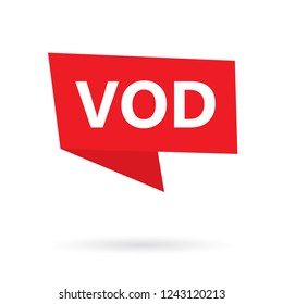 VOD (Video On Demand) acronym on a sticker- vector illustration