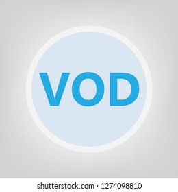 VOD (Video On Demand) acronym- vector illustration
