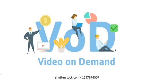 VOD, video on demand. Concept with keywords, letters, and icons. Colored flat vector illustration. Isolated on white background.