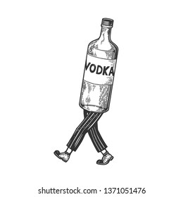 Vodka alcohol bottle walks on its feet sketch engraving vector illustration. Scratch board style imitation. Black and white hand drawn image.