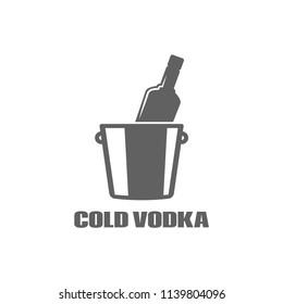 Vodka bottle logo. Cold vodka icon on white background