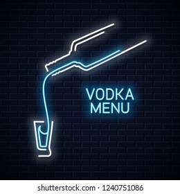Vodka bottle neon logo. Vodka shot neon sign on white background
