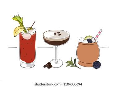 Vodka cocktails illustration