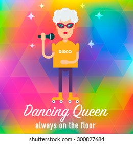 In vogue modern grandmother on the roller skate signing karaoke at the disco. Fully editable vector illustration. Perfect use for informational cards, posters, flayers.