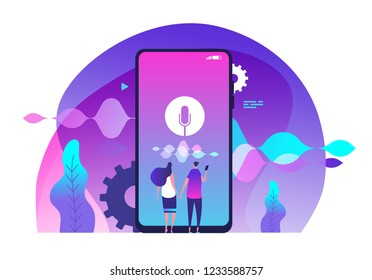 Voice assistance concept. Voice controlled intelligent home speaker and voice assistant vector illustration