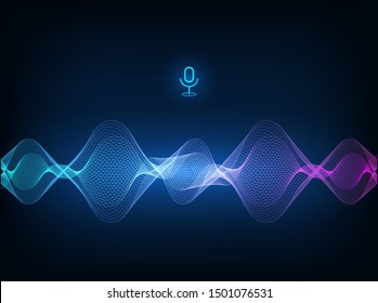 Voice assistant concept. Vector sound wave. Microphone voice control technology, voice and sound recognition. Hi-tech AI assistant voice, background wave flow, equalizer. Vector illustration