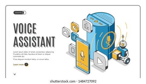 Voice assistant isometric landing page, Smart speaker recognition sound commands and control devices connected with internet of things, soundwave intelligent technologies 3d vector line art web banner