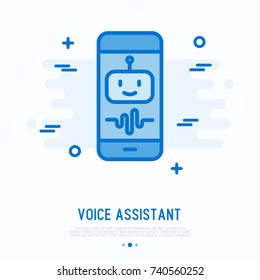 Voice assistant on smartphone thin line icon. Simple vector illustration of artificial intelligence.