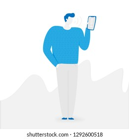 Voice assistant, voice recognition technology illustration with people
