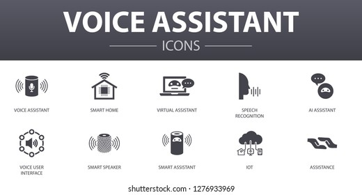 voice assistant simple concept icons set. Contains such icons as smart home, voice user interface, smart speaker, IOT and more, can be used for web, logo, UI/UX
