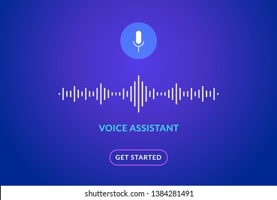 Voice assistant soundwave illustration. AI assistant conversation sound tech, smart recognition.