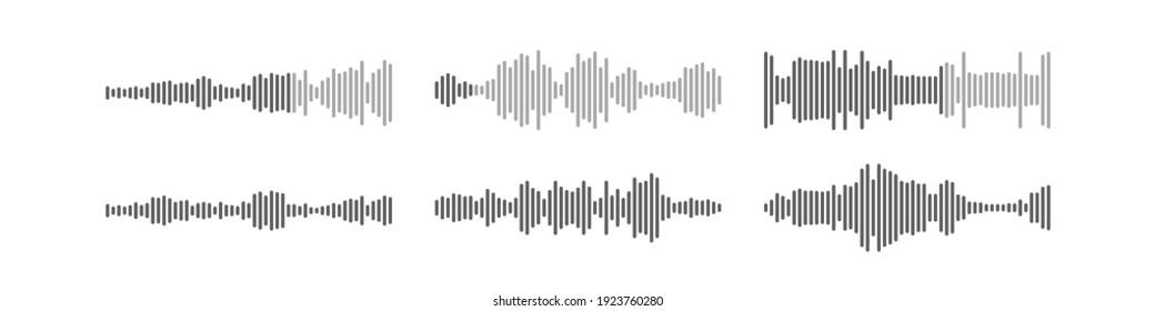Voice audio message vector smartphone app interface design, flat wave flat soundwave set, waveform speech collection illustration.