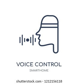 Voice control icon. Voice control linear symbol design from Smarthome collection. Simple outline element vector illustration on white background.