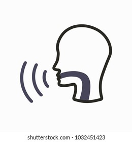 Voice emitting sound through voice chords with face