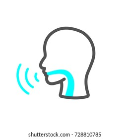 Voice emitting sound via voice chords with face