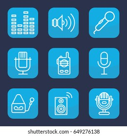 Voice icon. set of 9 outline voice icons such as microphone, equalizer, volume, music loudspeaker