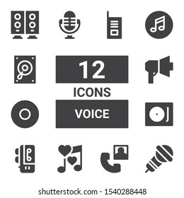 voice icon set. Collection of 12 filled voice icons included Microphone, Phone call, Romantic music, Voice recorder, Record player, Recording, Megaphone, Music, Woofer, Walkie talkie
