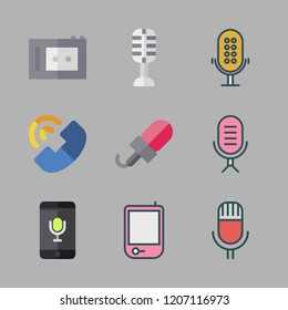 voice icon set. vector set about voice recognition, radio, microphone and recorder icons set.
