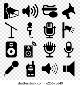 Voice icons set. set of 16 voice filled icons such as microphone, volume, pin microphone, megaphone, speaker, music loudspeaker