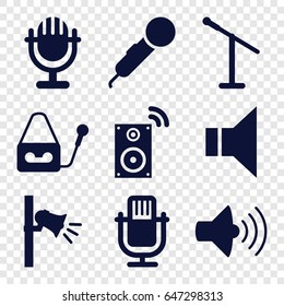 Voice icons set. set of 9 voice filled icons such as volume, microphone, megaphone