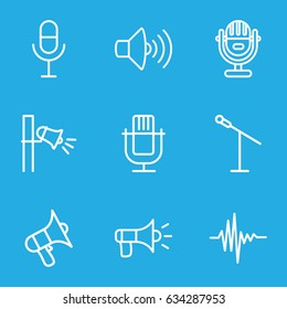 Voice icons set. set of 9 voice outline icons such as volume, microphone, music equalizer