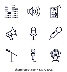 Voice icons set. set of 9 voice outline icons such as microphone, volume, equalizer