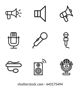 Voice icons set. set of 9 voice outline icons such as microphone, volume, pin microphone, megaphone