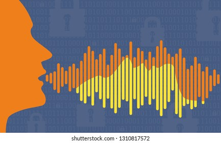 voice ID security illustration of profile head with matching profile in password audio wave. vector graphic of voice id audio security in yellow and blue