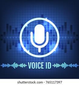 Voice ID Tech Icon and Futuristic Background Vector Illustration