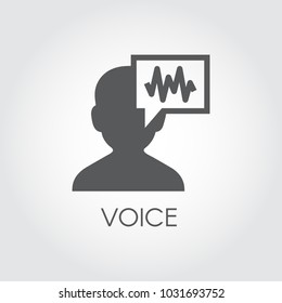 Voice identity black flat icon. Recognize audio system sign. Voiceover biometric symbol. Silhouette of man and sound wave graphic pictograph. Vector illustration for various design needs