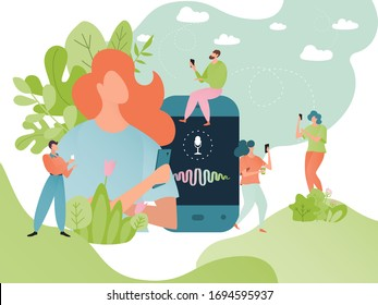 Voice message vector illustration. Cartoon flat tiny people using smartphone, man woman speaker character with microphone recording vocal message conversation, mobile voicemail for friends concept
