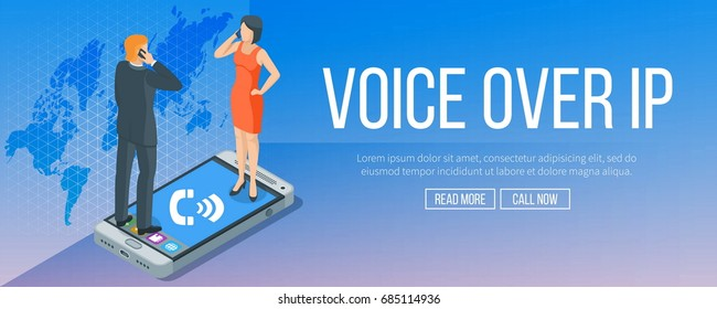 Voice over internet protocol banner. Internet and technology concept. VoIP calls. Highly detailed vector illustration