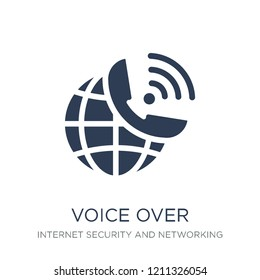 voice over internet protocol icon. Trendy flat vector voice over internet protocol icon on white background from Internet Security and Networking collection, vector illustration