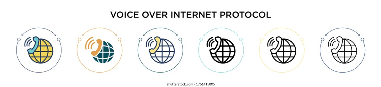 Voice over internet protocol icon in filled, thin line, outline and stroke style. Vector illustration of two colored and black voice over internet protocol vector icons designs can be used for