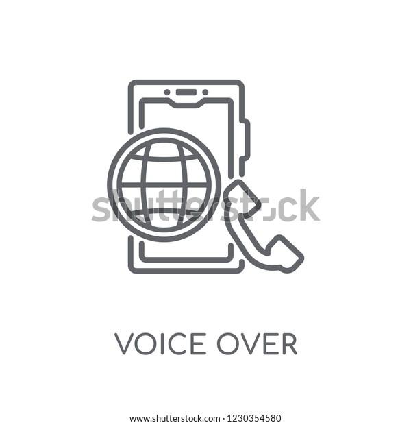 Voice Over Internet Protocol Linear Icon Stock Vector