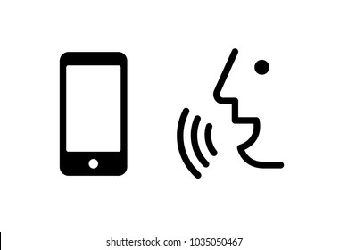 Voice recognition concept. Voice control mobile, smartphone vector icon. Black line, online, thin trendy logo, flat adaptation design for  web, website, mobile app, EPS isolated on white