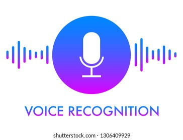 Voice recognition concept icon and personal assistant bright gradient vector illustration design of soundwave intelligent technologies. Microphone button with bright voice and sound imitation waves.