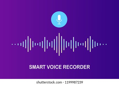 Voice recognition, equalizer, audio recorder. Microphone button with sound wave. Symbol of intelligent technology. Vector design for tech app