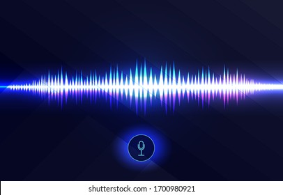 Voice recognition, equalizer, audio recorder. Microphone button with sound wave. Symbol of intelligent technology.   Hi-tech AI assistant voice, background wave flow, equalizer. Vector illustration