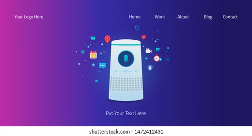 Voice recognition, Speech, voice search - flat design conceptual vector illustration with icons and texts