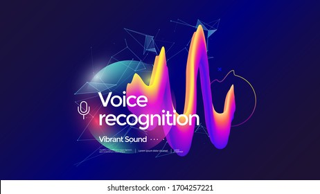 Voice recognition technology. Personal assistant concept illustration in gradient style. Sound wave graphic imitation.