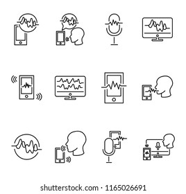 Voice recognition vector illustration collection set. Technology of digital communication and talking. Biometric signature and smart ID. Computer, tablet or smart phone. Outlined vocal wave objects.