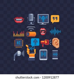 Voice recognition. Voiceover or voice command icon with sound wave images pixel art set. Soundwave on phone in the hand. Sound recording. Isolated vector illustration. Design for logo app and web.