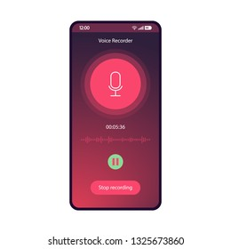 Voice recorder app smartphone interface vector template. Sound rec mobile application flat gradient UI. Audio recording process page purple design layout. Capture, pause, stop buttons on phone display