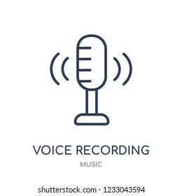 Voice recording icon. Voice recording linear symbol design from music collection. Simple outline element vector illustration on white background