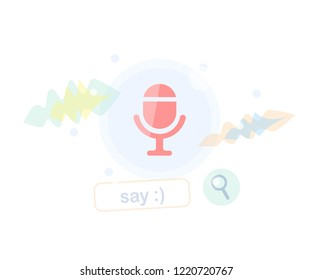 Voice search and recognition. Browser bar concept. Background illustration.