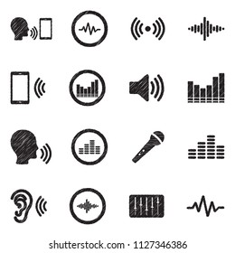 Voiceover Icons. Black Scribble Design. Vector Illustration.